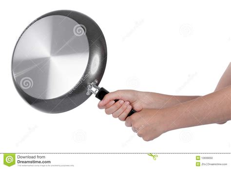 Woman Beating With A Frying Pan Stock Photo - Image of