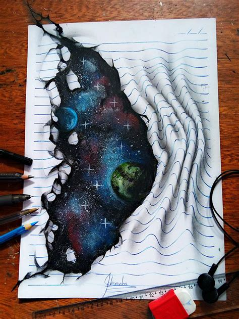 16-Year-Old Artist Draws Amazing 3D Optical Illusions In